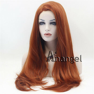 Fashion Sexy Orange Women Lace Front Wig Heat Resistant Straight Hair Synthetic