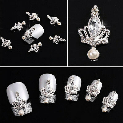10Pcs Newly 3D Silver Crown Crystal Rhinestone Nail Art Glitters Diy Decoration