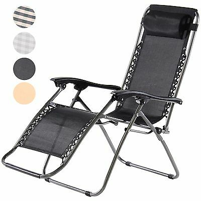 Charles Jacobs Deluxe Reclining Zero Gravity Chair Folding Garden Sun Lounger