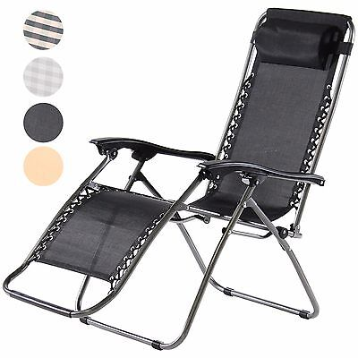 Zero Gravity Sun Lounger Deluxe Textoline Reclining Garden Patio Folding Chair