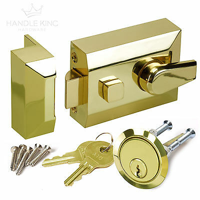 Night Latch Front Door Lock with Standard 60mm Backset Polished Brass Finish