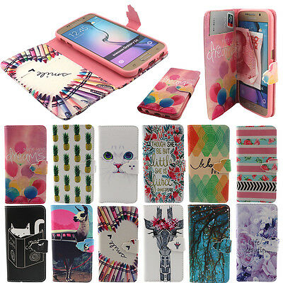 Leather Card Holder Case Cover Printed Magnetic Stand Wallet Flip For Samsung