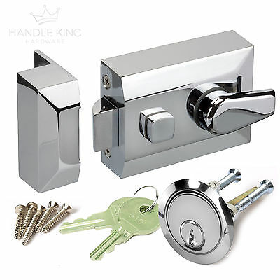Night Latch Front Door Lock with Standard 60mm Backset Polished Chrome Finish