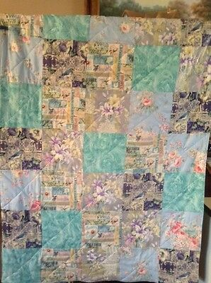Handmade  Turquoise  Patchwork,Lap, Throw ,Quilt