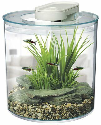 Aquarium Fish Tank Round 10L With Led Light Biological Filtration Cold Tropical