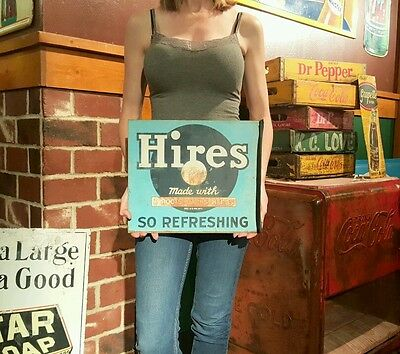 Double sided Hires Root beer Sign girl Flange