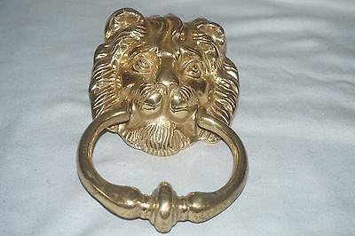 Vtg Brass Plated Lion Bust Door Knocker Medieval Gothic Front Door Accessory