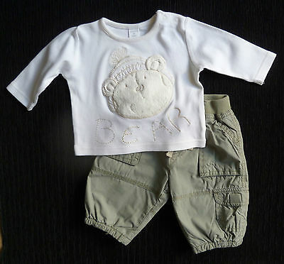 Baby clothes BOY 0-3m outfit NEXT cream textured bear top/pale khaki trousers