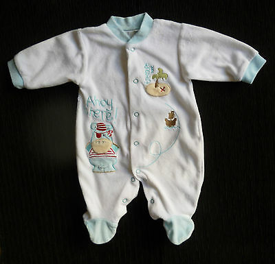 Baby clothes BOY 0-3m NEW! white/blue velour ZIP ZAP hippo pirate babygrow SHOP!