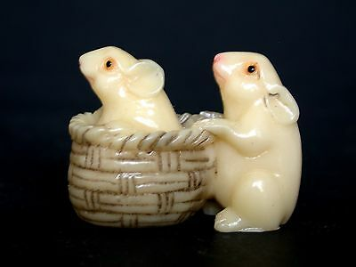 Japanese ivory color bone  netsuke - 2 Playful Mice/Mouse In & Out of  Basket