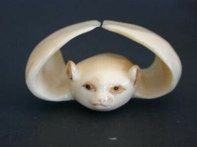 Vintage Japanese ivory colored bone  netsuke -Baby BAT wants to fly ! signed