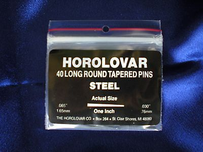 "40 Steel Taper Pins - 1""x.065""x.030"" Black Oxide Clock Repair - Horolovar"