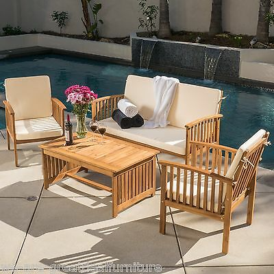 Casual Outdoor Patio Furniture Wood Stained Finish 4-pc Sofa Seating Set