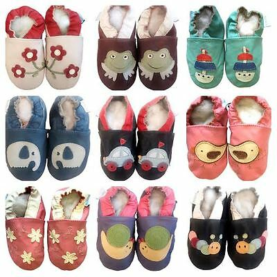 Boys Girls New Premium Soft Leather Baby Pram Shoes 0 6 12 18 24 Months UK