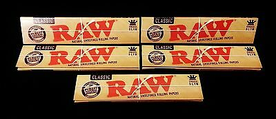 5 Packs Of Authentic Raw Rolling Paper Classic King Size Slim Natural