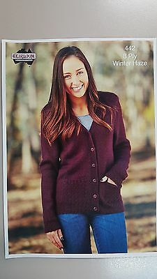 Heirloom Knitting Pattern #442 to Knit Ladies Cardigan with Pockets 8 Ply Yarn