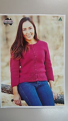 Heirloom Knitting Pattern #445 to Knit Ladies Cardigan in 8 Ply Yarn