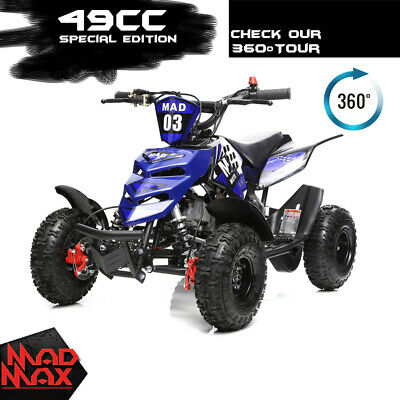 49cc Mini Atv Quad Bike Kids 4 Wheeler Dirt Buggy Pocket Bike Ocean Blue