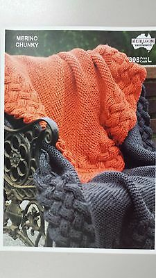 Heirloom Knitting Pattern #398 to Knit Blanket in Chunky Yarn in 2 Sizes