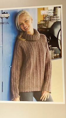 Heirloom Knitting Pattern #262 to Knit Ladies Cabled Jumper in 8 Ply