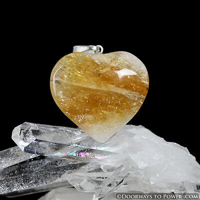 John of God Citrine Crystal Heart Pendant Blessed and Energized JHP-3