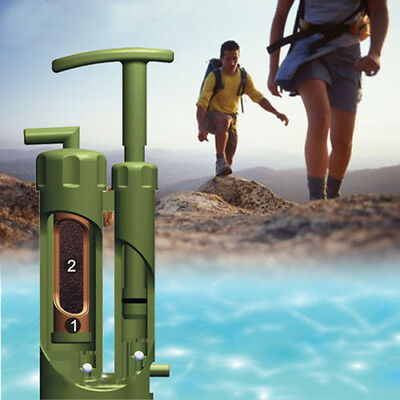 NEW Portable Soldier Water Purifier Purification Pump Filter Backpacking Camping