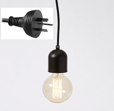 Plug In Black Metal Pendant Light DIY Fabric Cord Set 4.5 metre Plug Lamp