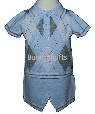 Baby Boys Argyll Pattern Knitted Cotton Two Piece Summer Outfit 3-6 Month