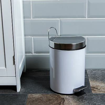 3 Litre Pedal Bin White Stainless Steel Bathroom Kitchen Waste By Home Discount