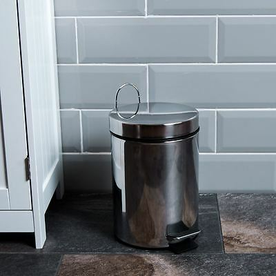 3 Litre Pedal Bin Stainless Steel Bathroom Kitchen Rubbish New By Home Discount