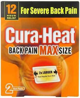 ** Cura-Heat Back Pain Max Size Heat Packs 12 Hours Relief New ** 2 Patches