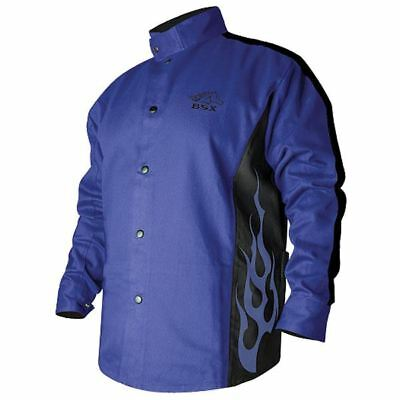 REVCO BXRB9C-XL Extra-Large Blue w/Flames BSX Stryker FR Welding Jacket