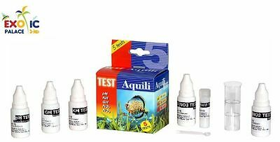 TEST AQUILI SET 5 in 1 18 ml pH KH GH NO2 NO3 PER ACQUA ACQUARIO DOLCE E MARINO