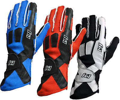 K1 - Pro-X SFI-5 Rated Auto Racing Gloves - External Stitch Fire Driving Nomex
