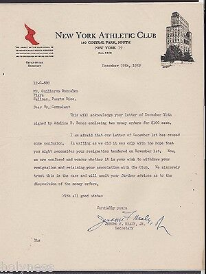 Vintage Illustrated Commercial Letter / New York Athletic Club / 1959