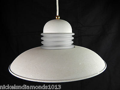White Hanging Ceiling Light UFO Frosted Center Shade Atomic Lamp Works