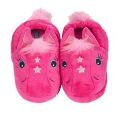 Stride Rite Plush Slippers Magic Pony Pink with Silver Stars S 7-8