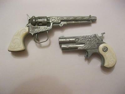 2 Vintage Rare USSR 1980s Metal Cap Gun's Silver Toy-Best Choise and Gift!