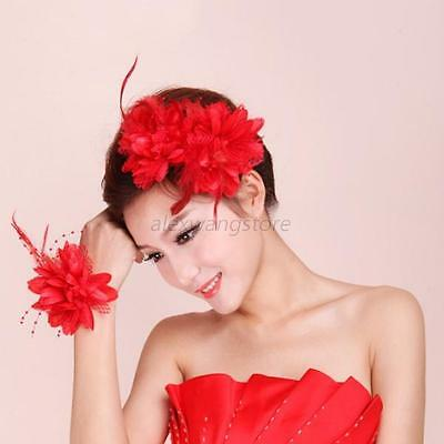 Nice Flower Feather Bead Corsage Hair Clips Hairband Pin Bracelet Cosplay Party