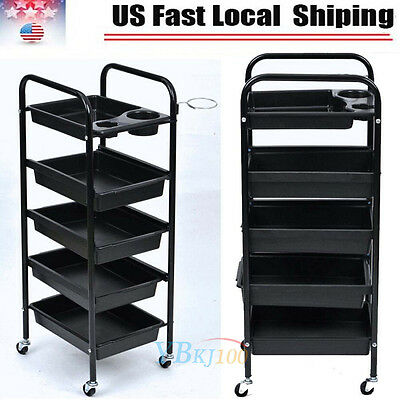 Salon Hairdresser Barber Spa Beauty Storage Hair Trolley 5Drawers Roller Cart US