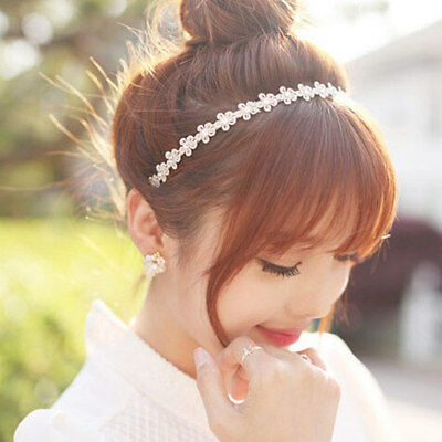 Fashion Cute lady Beige hair band pearl Flower women Lace Headband Accessories