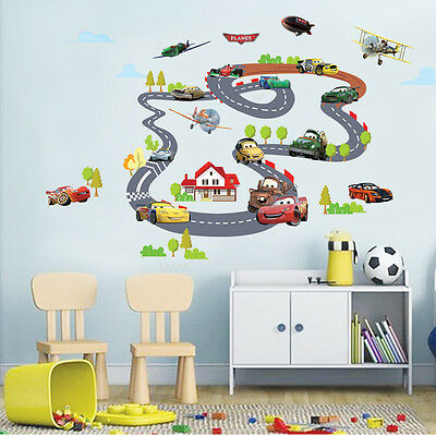 DIY Cartoon Highway Circle Race Track Car Wall Stickers Decal Kids Room Decor