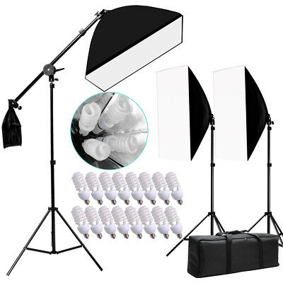 2600w Photography Softbox Continuous Lighting  Light Soft Box Boom Arm Stand Kit