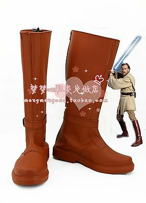 Star Wars ANH Jedi Knight Master Obi Wan Kenobi Outfit Cosplay Shoes Boots