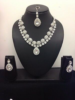 Bollywood Indian Necklace Earrings Tikka matha Jewellery Set Silver Gold Pink -1