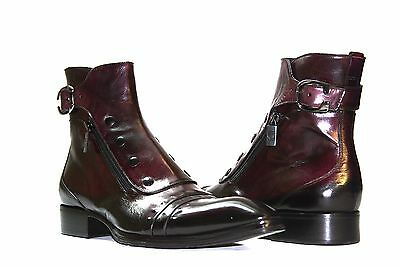 Jo Ghost 3207M Mens Italian Burgundy Leather Ankle Boots