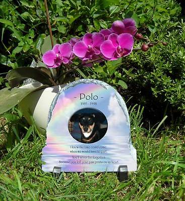 Pet Dog or Cat Memorial Slate Personalised Plaque Dome Top choice of 3 colours