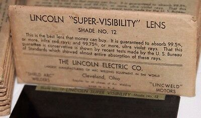 Vtg LINCOLN Super VISIBILITY LENS Shade No.12 Welding NOS Hi Arc 2x4 1/8 Glass