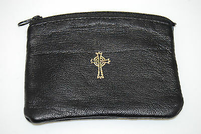 ROSARY Zippered Pouch Black Leather Case Storage Cross Catholic