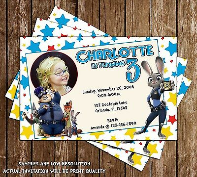 Zootopia Movie Birthday Invitations - 15 Printed W/envelopes